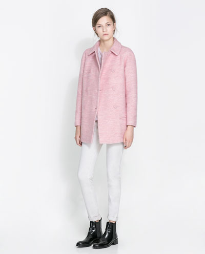 Short Woollen Overcoat - pattern: plain; length: below the bottom; style: double breasted; predominant colour: blush; occasions: casual, evening, work, occasion; fit: straight cut (boxy); fibres: wool - mix; collar: shirt collar/peter pan/zip with opening; sleeve length: long sleeve; sleeve style: standard; collar break: high; pattern type: fabric; texture group: woven light midweight; season: s/s 2013