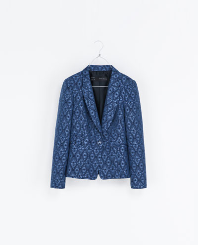 Jacquard Pattern Blazer - style: single breasted blazer; collar: standard lapel/rever collar; predominant colour: royal blue; occasions: casual, evening, work, occasion; length: standard; fit: tailored/fitted; fibres: cotton - mix; sleeve length: long sleeve; sleeve style: standard; collar break: low/open; pattern type: fabric; pattern size: standard; pattern: patterned/print; texture group: brocade/jacquard; season: s/s 2013