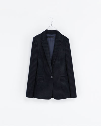 Pinstripe Blazer - style: single breasted blazer; length: below the bottom; pattern: pinstripe; collar: standard lapel/rever collar; secondary colour: white; predominant colour: navy; occasions: casual, evening, work; fit: tailored/fitted; fibres: polyester/polyamide - mix; sleeve length: long sleeve; sleeve style: standard; collar break: medium; pattern type: fabric; pattern size: standard; texture group: woven light midweight; trends: masculine feminine; season: s/s 2013