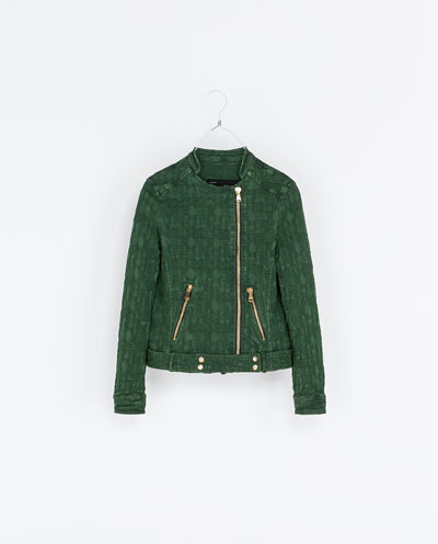 Jacquard Jacket With Zips - collar: asymmetric biker; style: denim; predominant colour: khaki; secondary colour: gold; occasions: casual, evening; length: standard; fit: straight cut (boxy); fibres: cotton - mix; sleeve length: long sleeve; sleeve style: standard; collar break: high/illusion of break when open; pattern type: fabric; pattern size: light/subtle; pattern: patterned/print; texture group: brocade/jacquard; season: s/s 2013