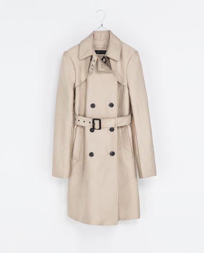 Cotton Trench Coat - pattern: plain; style: trench coat; length: on the knee; predominant colour: camel; occasions: casual, work; fit: tailored/fitted; fibres: polyester/polyamide - mix; collar: shirt collar/peter pan/zip with opening; waist detail: belted waist/tie at waist/drawstring; sleeve length: long sleeve; sleeve style: standard; texture group: cotton feel fabrics; collar break: high; pattern type: fabric; trends: 1940's hitchcock heroines; season: s/s 2013; hip detail: side pockets at hip
