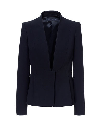 Pleated Jacket - pattern: plain; style: single breasted blazer; collar: round collar/collarless; predominant colour: navy; occasions: evening, work, occasion; length: standard; fit: tailored/fitted; fibres: viscose/rayon - stretch; sleeve length: long sleeve; sleeve style: standard; collar break: low/open; pattern type: fabric; texture group: woven light midweight; season: s/s 2013