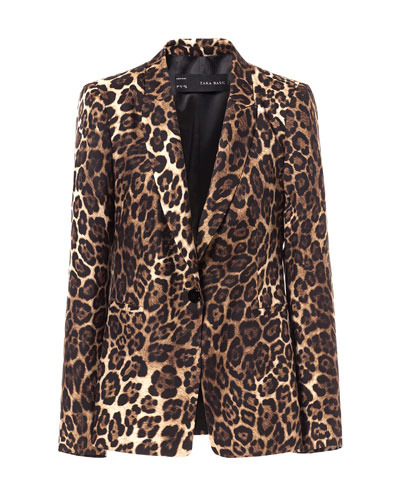 Animal Print Blazer - style: single breasted blazer; length: below the bottom; collar: standard lapel/rever collar; predominant colour: chocolate brown; secondary colour: tan; occasions: casual, evening, occasion; fit: tailored/fitted; fibres: polyester/polyamide - 100%; sleeve length: long sleeve; sleeve style: standard; collar break: medium; pattern type: fabric; pattern size: standard; pattern: animal print; texture group: other - light to midweight; trends: playful prints; season: s/s 2013