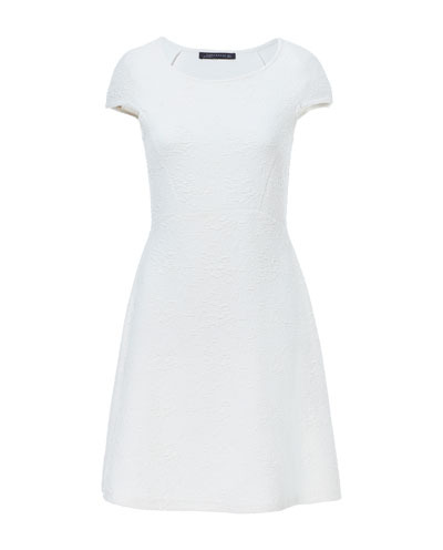 A Line Fabric Dress - style: shift; neckline: round neck; sleeve style: capped; fit: fitted at waist; pattern: plain; waist detail: fitted waist; predominant colour: white; occasions: casual, creative work; length: just above the knee; fibres: polyester/polyamide - stretch; sleeve length: short sleeve; pattern type: fabric; texture group: jersey - stretchy/drapey; season: s/s 2013