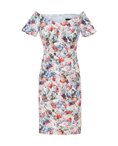 Floral Print Dress - style: shift; neckline: off the shoulder; fit: tailored/fitted; back detail: back revealing; occasions: evening, occasion, holiday; length: just above the knee; fibres: cotton - stretch; predominant colour: multicoloured; sleeve length: short sleeve; sleeve style: standard; texture group: cotton feel fabrics; pattern type: fabric; pattern size: standard; pattern: florals; season: s/s 2013; multicoloured: multicoloured