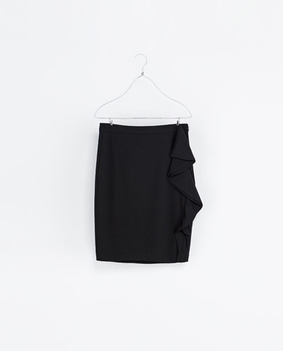 Pencil Skirt With Ruffle - pattern: plain; style: straight; fit: tailored/fitted; waist: mid/regular rise; predominant colour: black; occasions: casual, evening, work, occasion; length: just above the knee; fibres: polyester/polyamide - 100%; texture group: crepes; hip detail: ruffles/tiers/tie detail at hip; pattern type: fabric; season: s/s 2013