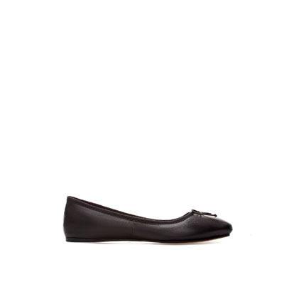 Leather Ballerina - predominant colour: black; occasions: casual, evening, work; material: leather; heel height: flat; toe: round toe; style: ballerinas / pumps; finish: plain; pattern: plain; embellishment: bow; season: s/s 2013