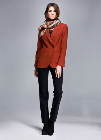 Blazer - pattern: plain; length: below the bottom; style: boyfriend; collar: standard lapel/rever collar; predominant colour: terracotta; occasions: casual, work, creative work; fit: tailored/fitted; fibres: polyester/polyamide - stretch; sleeve length: long sleeve; sleeve style: standard; collar break: medium; pattern type: fabric; texture group: woven light midweight; trends: masculine feminine, broody brights; season: s/s 2013