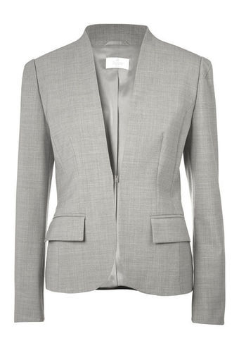 Blazer - pattern: plain; style: single breasted blazer; collar: round collar/collarless; predominant colour: light grey; occasions: evening, work; length: standard; fit: tailored/fitted; fibres: polyester/polyamide - stretch; sleeve length: long sleeve; sleeve style: standard; collar break: low/open; pattern type: fabric; texture group: woven light midweight; season: s/s 2013