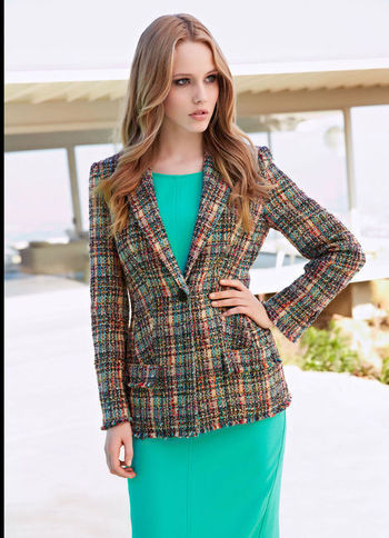 Bouclé Blazer - pattern: checked/gingham; length: below the bottom; style: boyfriend; collar: standard lapel/rever collar; predominant colour: dark green; secondary colour: tan; occasions: casual, evening, work, occasion, creative work; fit: tailored/fitted; fibres: polyester/polyamide - stretch; sleeve length: long sleeve; sleeve style: standard; collar break: low/open; pattern type: fabric; pattern size: standard; texture group: woven light midweight; season: s/s 2013