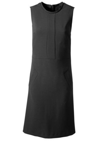 Shift Dress - style: shift; neckline: round neck; pattern: plain; sleeve style: sleeveless; predominant colour: black; occasions: casual, evening, work; length: just above the knee; fit: soft a-line; fibres: polyester/polyamide - mix; sleeve length: sleeveless; pattern type: fabric; texture group: woven light midweight; season: s/s 2013
