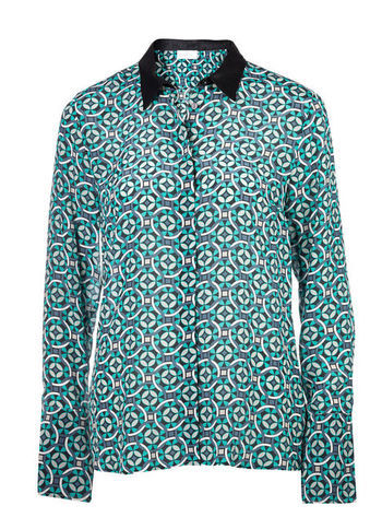 Silk Blouse - neckline: shirt collar/peter pan/zip with opening; style: shirt; predominant colour: emerald green; occasions: casual, work; length: standard; fibres: silk - 100%; fit: loose; sleeve length: long sleeve; sleeve style: standard; texture group: silky - light; pattern type: fabric; pattern size: standard; pattern: patterned/print; season: s/s 2013