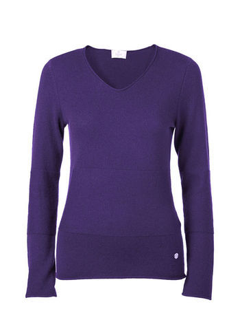 V Neck Cashmere Sweater - neckline: v-neck; pattern: plain; length: below the bottom; style: standard; predominant colour: purple; occasions: casual, work; fit: slim fit; fibres: cashmere - 100%; sleeve length: long sleeve; sleeve style: standard; texture group: knits/crochet; trends: broody brights; season: s/s 2013