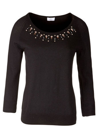 Merino Sweater - neckline: round neck; pattern: plain; bust detail: added detail/embellishment at bust; style: standard; predominant colour: black; occasions: casual, evening, work; length: standard; fibres: wool - 100%; fit: slim fit; sleeve length: long sleeve; sleeve style: standard; texture group: knits/crochet; embellishment: beading; season: s/s 2013