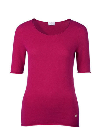 Cashmere Sweater - neckline: round neck; pattern: plain; style: standard; predominant colour: hot pink; occasions: casual, work; length: standard; fit: slim fit; fibres: cashmere - 100%; sleeve length: short sleeve; sleeve style: standard; texture group: knits/crochet; season: s/s 2013