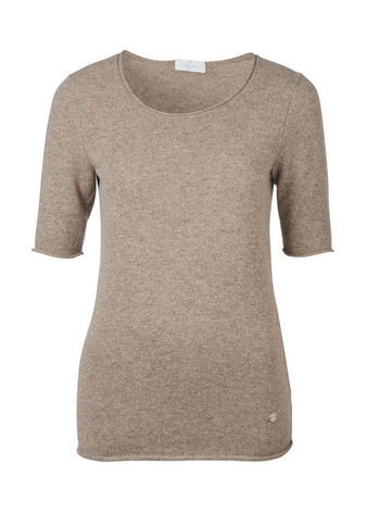 Cashmere Sweater - neckline: round neck; pattern: plain; length: below the bottom; style: standard; predominant colour: stone; occasions: casual, work; fit: slim fit; fibres: cashmere - 100%; sleeve length: short sleeve; sleeve style: standard; texture group: knits/crochet; season: s/s 2013