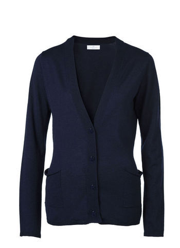 Cardigan - neckline: low v-neck; pattern: plain; length: below the bottom; hip detail: front pockets at hip; predominant colour: navy; occasions: casual, work; style: standard; fibres: wool - mix; fit: slim fit; sleeve length: long sleeve; sleeve style: standard; texture group: knits/crochet; season: s/s 2013