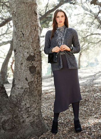 Cardigan - pattern: plain; length: below the bottom; neckline: collarless open; style: open front; predominant colour: charcoal; occasions: casual, work; fibres: wool - mix; fit: standard fit; sleeve length: long sleeve; sleeve style: standard; texture group: knits/crochet; pattern type: knitted - other; season: s/s 2013