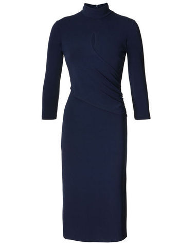 Jersey Dress - style: shift; length: below the knee; pattern: plain; neckline: high neck; predominant colour: navy; occasions: casual, evening, work; fit: body skimming; fibres: viscose/rayon - stretch; sleeve length: 3/4 length; sleeve style: standard; pattern type: fabric; texture group: jersey - stretchy/drapey; trends: 1940's hitchcock heroines; season: s/s 2013