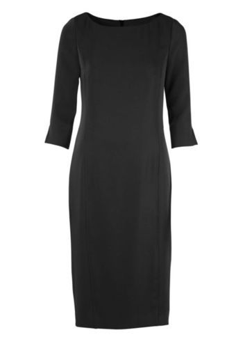 Shift Dress - style: shift; length: below the knee; neckline: slash/boat neckline; fit: tailored/fitted; pattern: plain; predominant colour: black; occasions: evening, work, occasion; fibres: polyester/polyamide - 100%; sleeve length: 3/4 length; sleeve style: standard; texture group: crepes; pattern type: fabric; season: s/s 2013