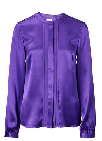 Silk Blouse - pattern: plain; style: blouse; predominant colour: purple; occasions: casual, evening, work; length: standard; fibres: silk - 100%; fit: straight cut; neckline: crew; sleeve length: long sleeve; sleeve style: standard; texture group: silky - light; pattern type: fabric; season: s/s 2013