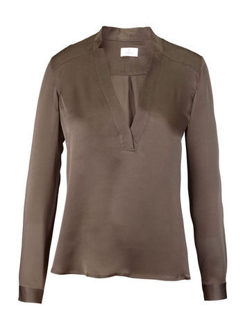 Silk Blouse - neckline: low v-neck; pattern: plain; style: blouse; predominant colour: taupe; occasions: evening, work; length: standard; fibres: silk - 100%; fit: body skimming; sleeve length: long sleeve; sleeve style: standard; texture group: silky - light; pattern type: fabric; season: s/s 2013