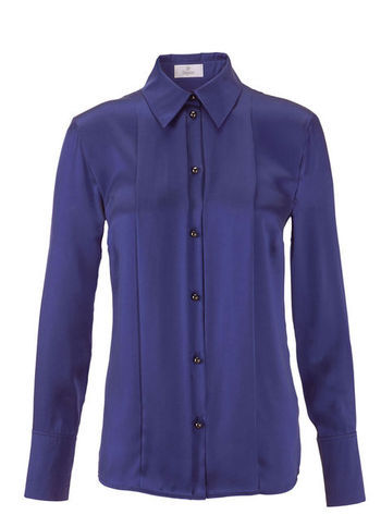 Silk Blouse - neckline: shirt collar/peter pan/zip with opening; pattern: plain; style: shirt; predominant colour: navy; occasions: casual, evening, work; length: standard; fibres: silk - 100%; fit: body skimming; sleeve length: long sleeve; sleeve style: standard; texture group: silky - light; trends: broody brights; season: s/s 2013