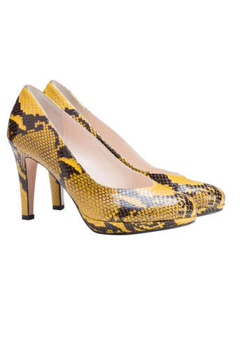 Court Shoes - predominant colour: yellow; secondary colour: chocolate brown; occasions: evening, occasion; material: leather; heel height: high; heel: stiletto; toe: pointed toe; style: courts; finish: plain; pattern: animal print; shoe detail: platform; season: s/s 2013