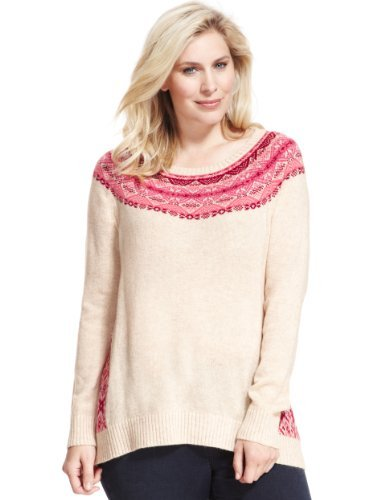 Plus Fair Isle Longline Jumper With Wool - neckline: slash/boat neckline; length: below the bottom; style: standard; shoulder detail: contrast pattern/fabric at shoulder; secondary colour: hot pink; predominant colour: nude; occasions: casual; fibres: acrylic - mix; fit: loose; hip detail: contrast fabric/print detail at hip; bust detail: contrast pattern/fabric/detail at bust; pattern: fairisle; sleeve length: long sleeve; sleeve style: standard; texture group: knits/crochet; pattern type: knitted - other; pattern size: standard; season: a/w 2013