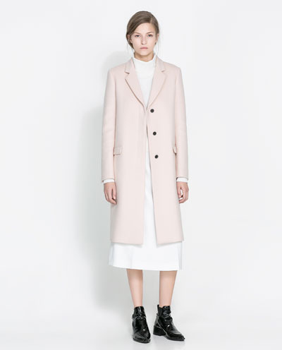 Masculine Studio Overcoat - pattern: plain; style: single breasted; length: on the knee; collar: standard lapel/rever collar; predominant colour: blush; occasions: casual, evening, work; fit: straight cut (boxy); fibres: wool - mix; sleeve length: long sleeve; sleeve style: standard; collar break: medium; pattern type: fabric; texture group: woven light midweight; trends: masculine feminine; season: s/s 2013