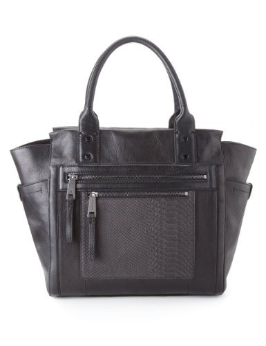 Autograph Leather Panelled Tote Bag - predominant colour: black; occasions: casual, work; type of pattern: light; style: tote; length: shoulder (tucks under arm); size: oversized; material: leather; pattern: animal print; finish: plain; season: a/w 2013