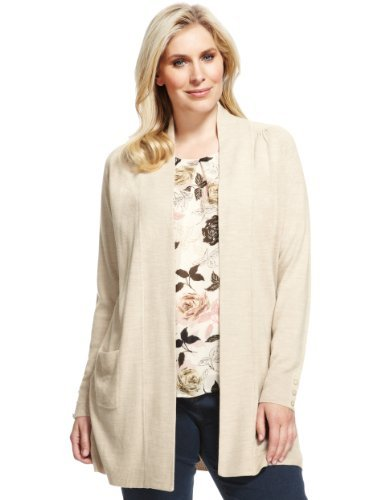 Plus Cashmilon™ Open Front 2 Pockets Cardigan - pattern: plain; length: below the bottom; neckline: collarless open; style: open front; predominant colour: stone; occasions: casual, work; fibres: acrylic - 100%; fit: loose; sleeve length: long sleeve; sleeve style: standard; texture group: knits/crochet; pattern type: knitted - fine stitch; season: a/w 2013