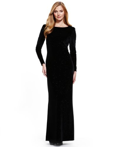M&S Collection Sparkle Velour Maxi Dress - neckline: slash/boat neckline; pattern: plain; style: maxi dress; waist detail: twist front waist detail/nipped in at waist on one side/soft pleats/draping/ruching/gathering waist detail; predominant colour: black; occasions: evening, occasion; length: floor length; fit: body skimming; fibres: polyester/polyamide - stretch; sleeve length: long sleeve; sleeve style: standard; pattern type: fabric; texture group: velvet/fabrics with pile; embellishment: crystals/glass; trends: gothic romance; season: a/w 2013