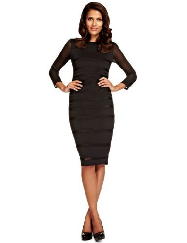 Per Una Speziale Panelled Pointelle Bodycon Dress - fit: tight; pattern: horizontal stripes; style: bodycon; predominant colour: black; occasions: evening; length: on the knee; fibres: viscose/rayon - stretch; neckline: crew; sleeve length: long sleeve; sleeve style: standard; pattern type: fabric; pattern size: light/subtle; texture group: other - clingy; season: a/w 2013