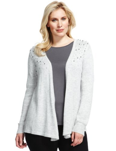 Plus Open Front Bead Embellished Cardigan With Wool - pattern: plain; neckline: collarless open; style: open front; predominant colour: light grey; occasions: casual, occasion; length: standard; fibres: wool - mix; fit: loose; sleeve length: long sleeve; sleeve style: standard; texture group: knits/crochet; pattern type: knitted - other; embellishment: beading; season: a/w 2013; wardrobe: highlight; embellishment location: bust, shoulder