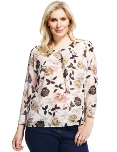 Plus Pleated Neckline Floral Blouse - neckline: round neck; style: blouse; bust detail: ruching/gathering/draping/layers/pintuck pleats at bust; secondary colour: stone; occasions: casual, work; length: standard; fit: loose; sleeve length: 3/4 length; sleeve style: standard; texture group: cotton feel fabrics; pattern: florals; predominant colour: dusky pink; season: a/w 2013