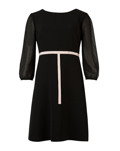 Ted Baker Daris Tie Waist Dress - style: shift; length: mid thigh; neckline: round neck; fit: empire; pattern: plain; waist detail: belted waist/tie at waist/drawstring; secondary colour: ivory/cream; predominant colour: black; occasions: casual, evening, occasion; fibres: polyester/polyamide - stretch; sleeve length: 3/4 length; sleeve style: standard; pattern type: fabric; texture group: other - light to midweight; season: s/s 2013