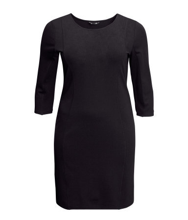+ Dress - style: shift; neckline: round neck; pattern: plain; predominant colour: black; occasions: casual, evening, work; length: just above the knee; fit: body skimming; fibres: viscose/rayon - stretch; sleeve length: 3/4 length; sleeve style: standard; pattern type: fabric; texture group: jersey - stretchy/drapey; trends: 1940's hitchcock heroines; season: s/s 2013