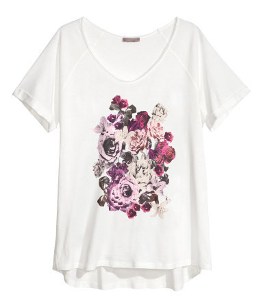 + T Shirt With A Motif - neckline: low v-neck; style: t-shirt; predominant colour: white; secondary colour: purple; occasions: casual; length: standard; fibres: cotton - 100%; fit: loose; sleeve length: short sleeve; sleeve style: standard; texture group: cotton feel fabrics; pattern type: fabric; pattern size: light/subtle; pattern: florals; season: s/s 2013
