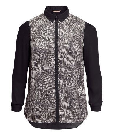 + Patterned Blouse - neckline: shirt collar/peter pan/zip with opening; style: shirt; predominant colour: mid grey; secondary colour: mid grey; occasions: casual, work; length: standard; fibres: polyester/polyamide - 100%; fit: straight cut; sleeve length: long sleeve; sleeve style: standard; texture group: sheer fabrics/chiffon/organza etc.; pattern type: fabric; pattern size: standard; pattern: patterned/print; season: s/s 2013
