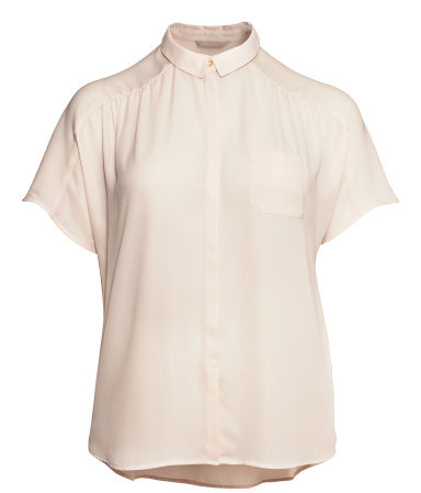 + Short Sleeved Blouse - neckline: shirt collar/peter pan/zip with opening; pattern: plain; style: shirt; predominant colour: blush; occasions: casual, evening, work; length: standard; fibres: polyester/polyamide - 100%; fit: straight cut; sleeve length: short sleeve; sleeve style: standard; texture group: sheer fabrics/chiffon/organza etc.; pattern type: fabric; season: s/s 2013