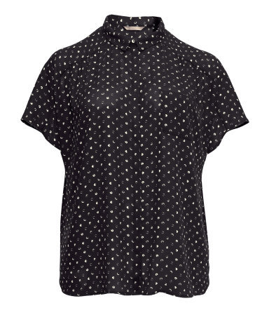 + Short Sleeved Blouse - neckline: shirt collar/peter pan/zip with opening; style: shirt; predominant colour: black; occasions: casual, work; length: standard; fibres: polyester/polyamide - 100%; fit: loose; sleeve length: short sleeve; sleeve style: standard; texture group: sheer fabrics/chiffon/organza etc.; pattern type: fabric; pattern size: standard; pattern: patterned/print; season: s/s 2013
