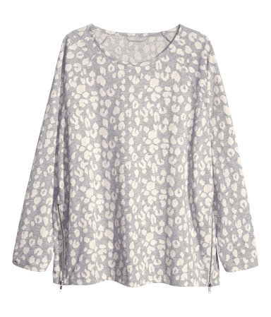 + Top - neckline: round neck; secondary colour: ivory/cream; predominant colour: light grey; occasions: casual; length: standard; style: top; fibres: cotton - mix; fit: loose; sleeve length: long sleeve; sleeve style: standard; pattern type: fabric; pattern size: standard; pattern: animal print; texture group: jersey - stretchy/drapey; season: s/s 2013