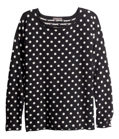 + Jumper - neckline: round neck; pattern: polka dot; style: standard; secondary colour: white; predominant colour: black; occasions: casual; length: standard; fibres: cotton - mix; fit: standard fit; sleeve length: long sleeve; sleeve style: standard; texture group: knits/crochet; pattern type: knitted - other; pattern size: standard; season: s/s 2013
