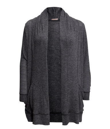 + Cardigan - pattern: plain; length: below the bottom; neckline: collarless open; style: open front; predominant colour: charcoal; occasions: casual, work; fibres: polyester/polyamide - mix; fit: loose; sleeve length: long sleeve; sleeve style: standard; texture group: knits/crochet; season: s/s 2013