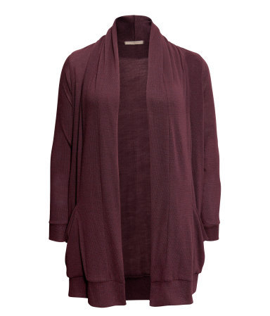 + Cardigan - pattern: plain; neckline: shawl; length: below the bottom; style: open front; predominant colour: burgundy; occasions: casual, work; fibres: polyester/polyamide - mix; fit: loose; sleeve length: long sleeve; sleeve style: standard; texture group: knits/crochet; season: s/s 2013