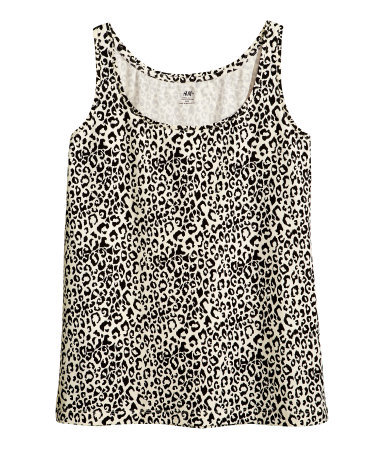 + Top - sleeve style: standard vest straps/shoulder straps; style: vest top; secondary colour: stone; predominant colour: black; occasions: casual, holiday; length: standard; neckline: scoop; fibres: cotton - mix; fit: body skimming; sleeve length: sleeveless; pattern type: fabric; pattern: animal print; texture group: jersey - stretchy/drapey; season: s/s 2013; pattern size: big & busy (top)