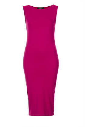 Petite Sleeveless Midi Bodycon Dress - length: below the knee; neckline: slash/boat neckline; fit: tight; pattern: plain; sleeve style: sleeveless; style: bodycon; predominant colour: hot pink; occasions: casual, evening, occasion; fibres: viscose/rayon - stretch; sleeve length: sleeveless; pattern type: fabric; texture group: jersey - stretchy/drapey; trends: 1940's hitchcock heroines; season: s/s 2013