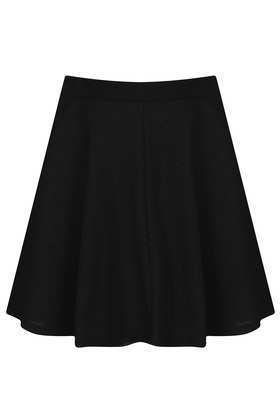 Petite Textured Skater Skirt - length: mid thigh; pattern: plain; fit: loose/voluminous; waist: high rise; predominant colour: black; occasions: casual, evening, work; style: fit & flare; fibres: polyester/polyamide - stretch; pattern type: fabric; texture group: jersey - stretchy/drapey; season: s/s 2013