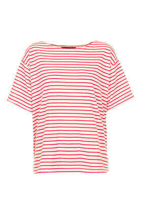 Petite Breton Tee - neckline: round neck; pattern: horizontal stripes; style: t-shirt; secondary colour: white; predominant colour: true red; occasions: casual, holiday; length: standard; fibres: polyester/polyamide - mix; fit: loose; sleeve length: short sleeve; sleeve style: standard; pattern type: fabric; texture group: jersey - stretchy/drapey; season: s/s 2013; pattern size: big & busy (top)